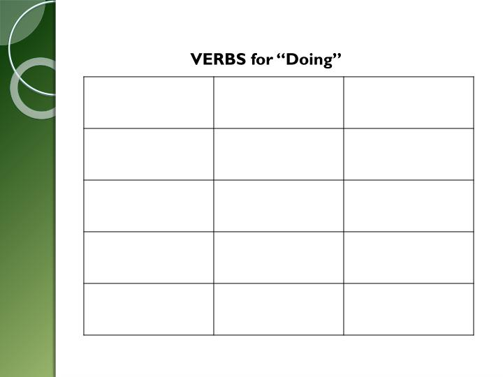 "VERBS for ""Doing"""