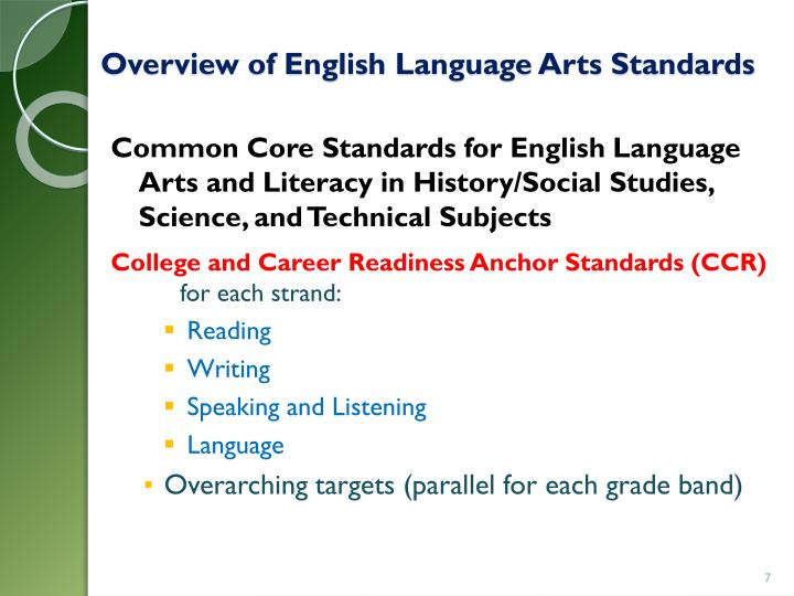 Overview of English Language Arts Standards