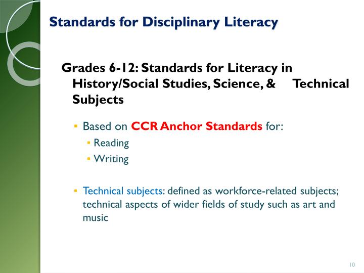 Standards for Disciplinary Literacy