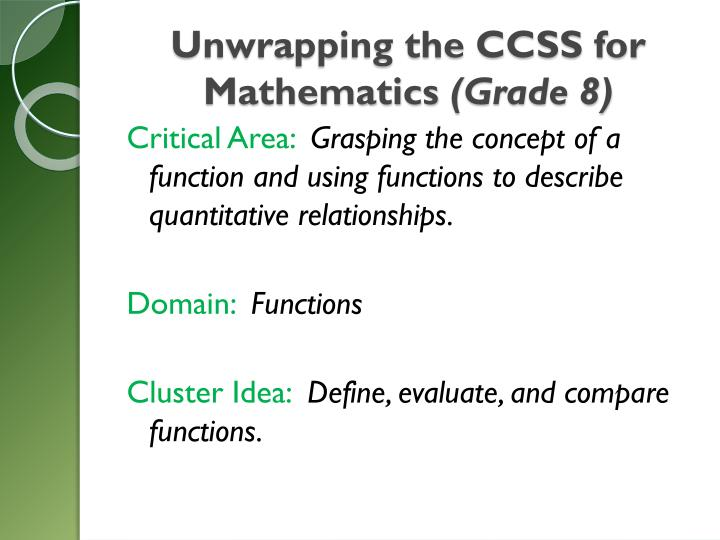 Unwrapping the CCSS for Mathematics