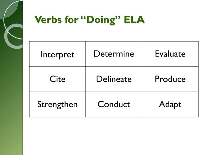 "Verbs for ""Doing"" ELA"