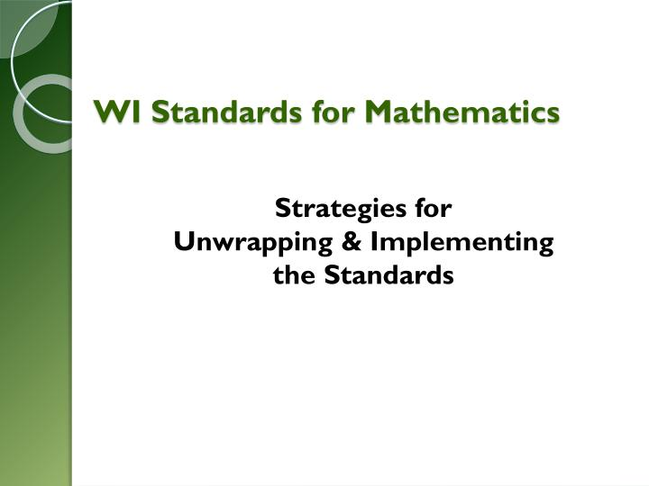 WI Standards for Mathematics