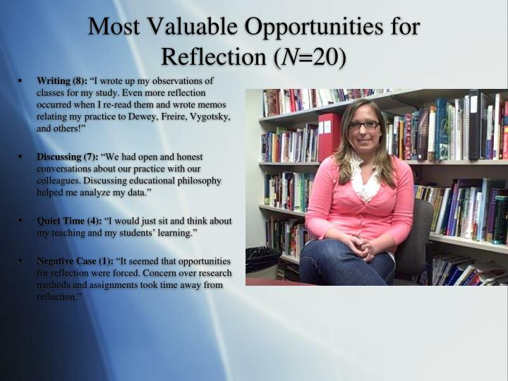 Most Valuable Opportunities for Reflection (