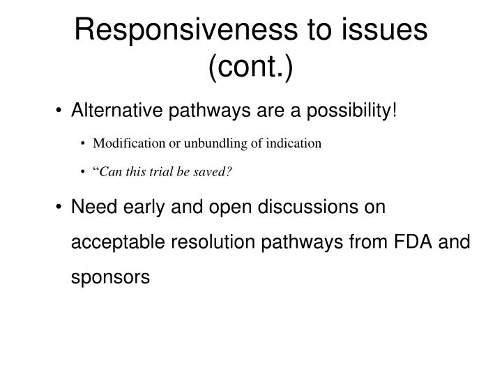 Responsiveness to issues