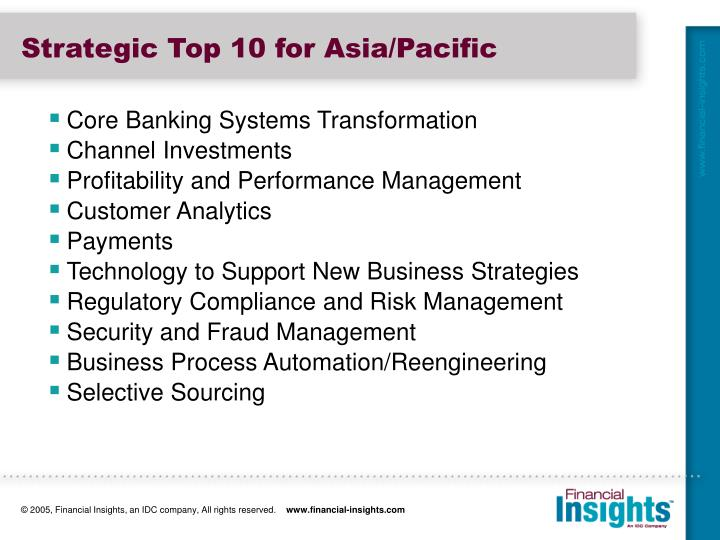 Strategic Top 10 for Asia/Pacific