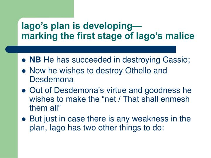Iago's plan is developing—