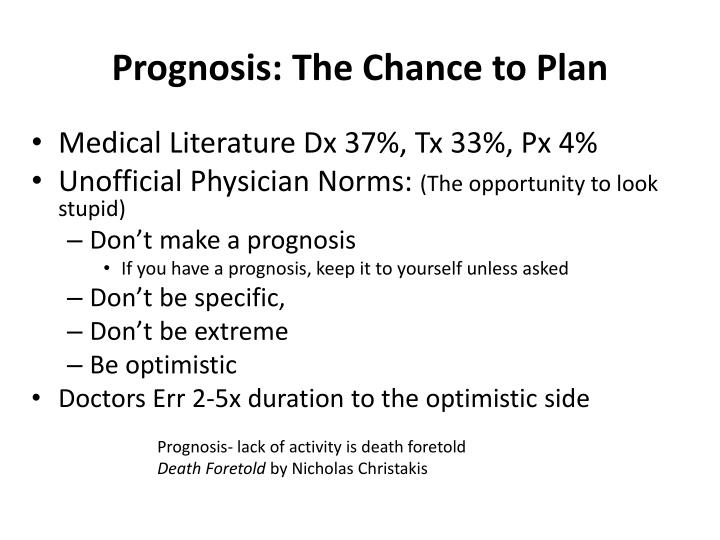 Prognosis: The Chance to Plan