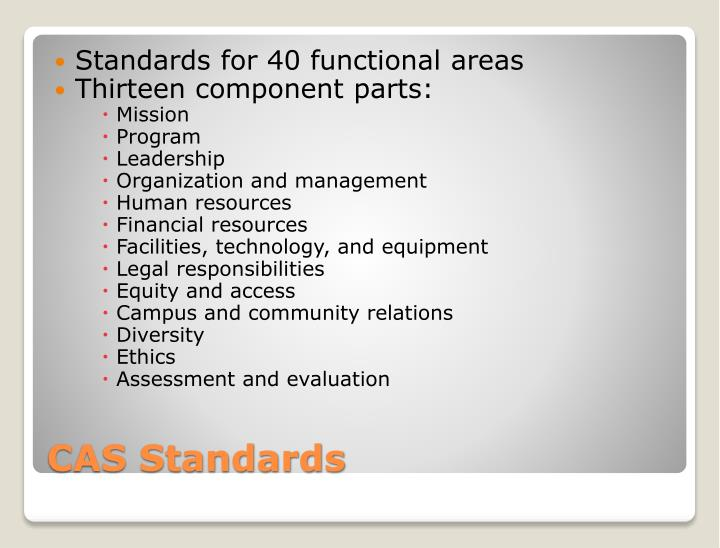 Standards for 40 functional areas