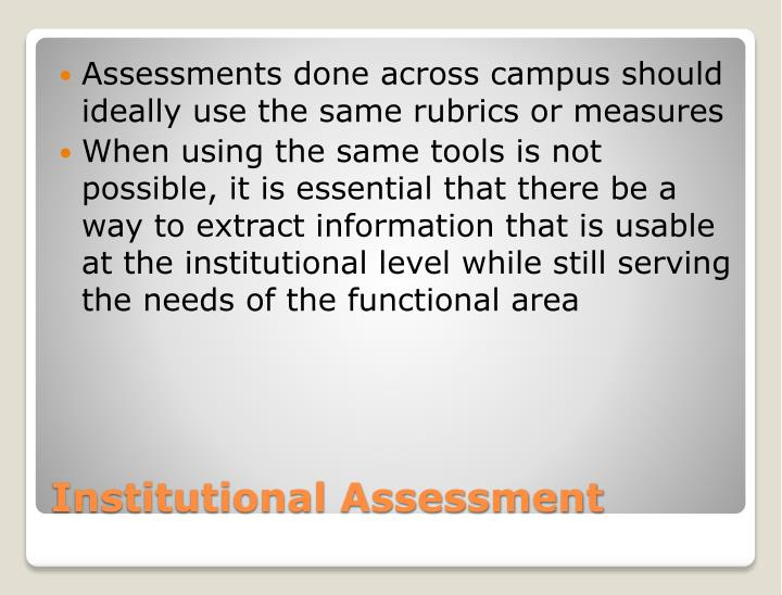 Assessments done across campus should ideally use the same rubrics or measures