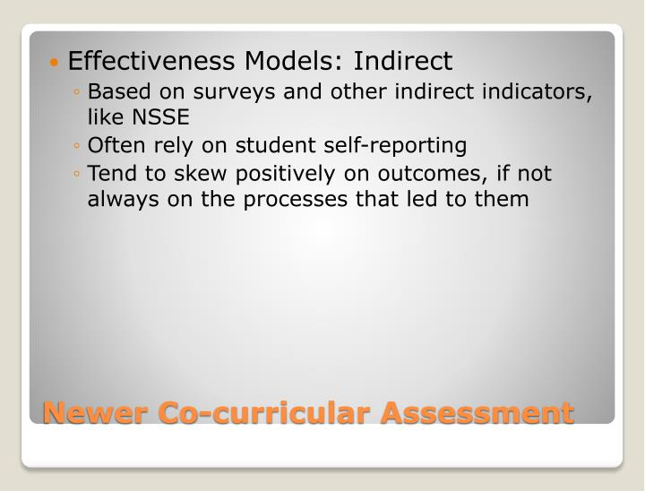 Effectiveness Models: Indirect
