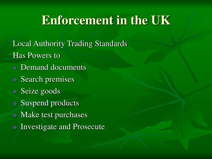 Enforcement in the UK