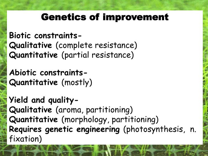 Genetics of improvement