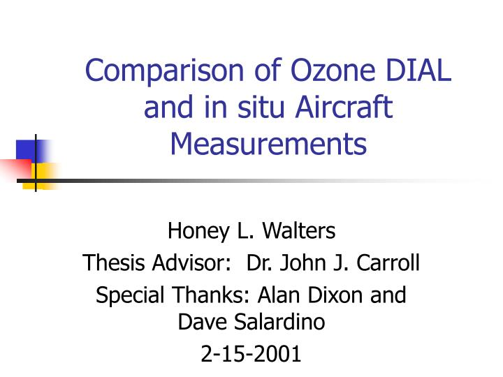 Comparison of ozone dial and in situ aircraft measurements