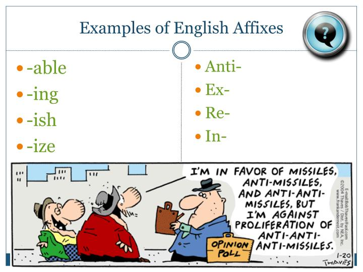 Examples of English Affixes