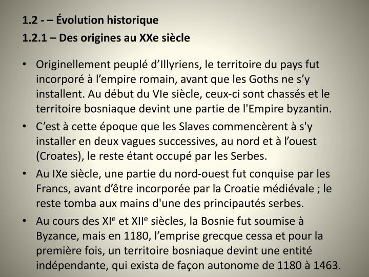 1.2 -  volution historique