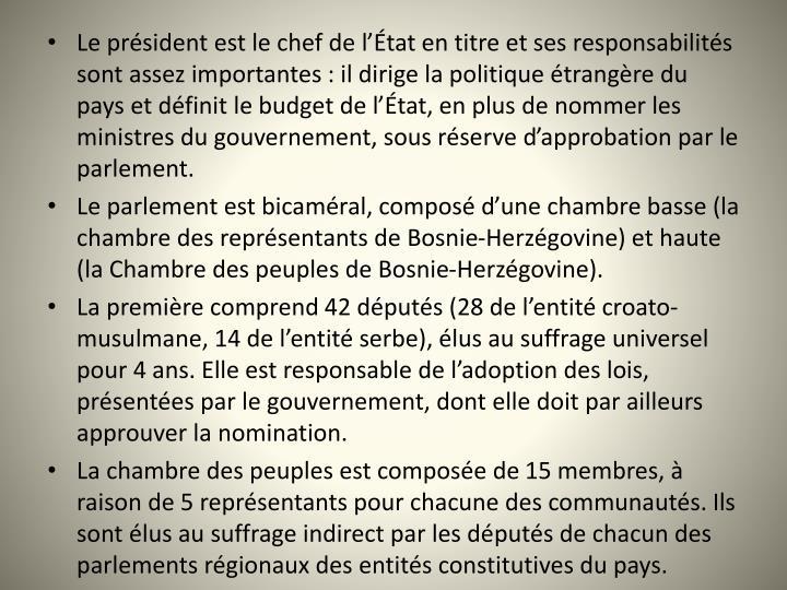 Le président est le chef de l'État en titre et ses responsabilités sont assez importantes : il dirige la politique étrangère du pays et définit le budget de l'État, en plus de nommer les ministres du gouvernement, sous réserve d'approbation par le parlement.