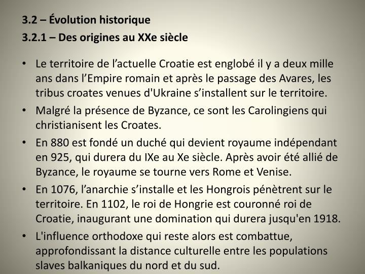 3.2  volution historique