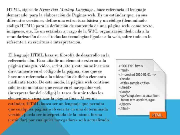 HTML, siglas de
