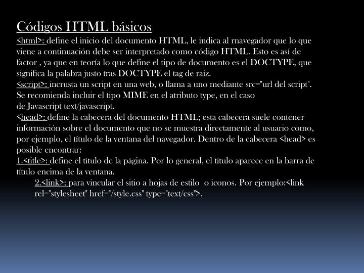 Códigos HTML