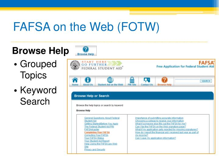 FAFSA on the Web (FOTW)