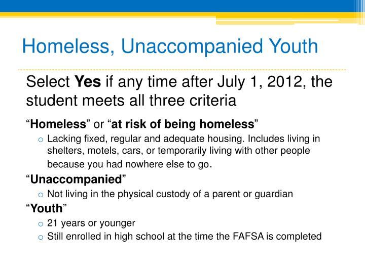 Homeless, Unaccompanied Youth