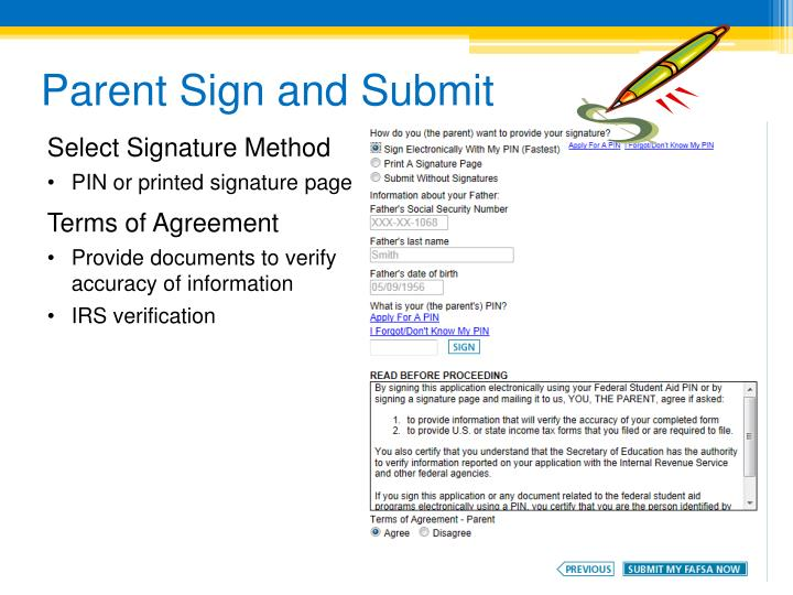 Parent Sign and Submit