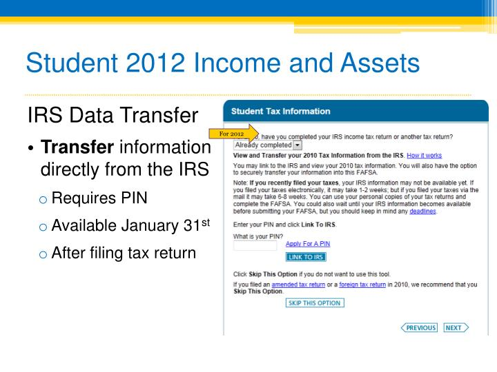 Student 2012 Income and Assets