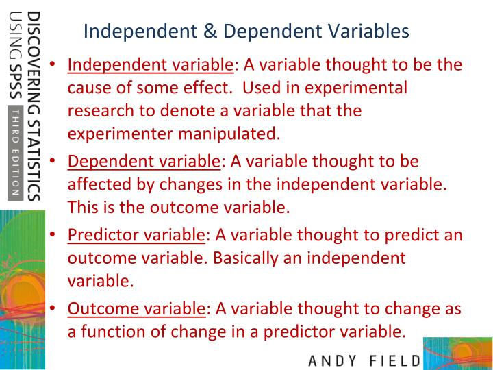 Independent dependent variables