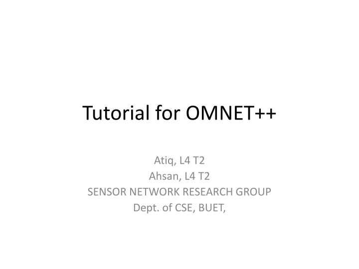 Tutorial for omnet