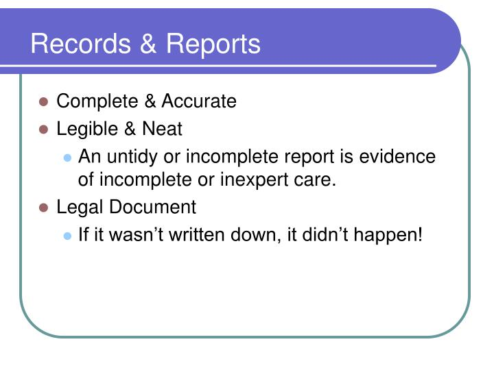 Records & Reports