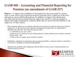 gasb 68 accounting and financial reporting for pensions an amendment of gasb 27