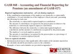 gasb 68 accounting and financial reporting for pensions an amendment of gasb 2714