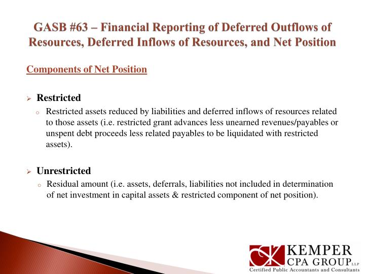 GASB #63 – Financial Reporting of Deferred Outflows of Resources, Deferred Inflows of Resources, and Net Position