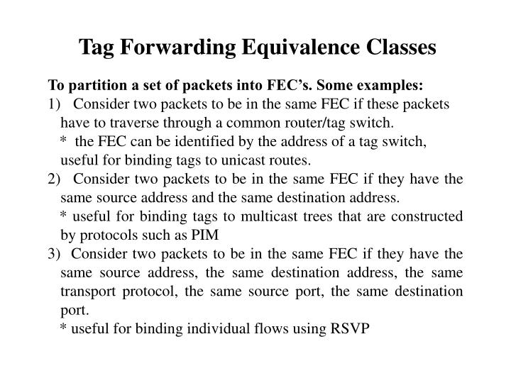 Tag Forwarding Equivalence Classes