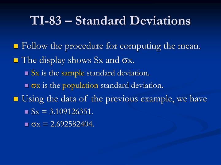 TI-83 – Standard Deviations