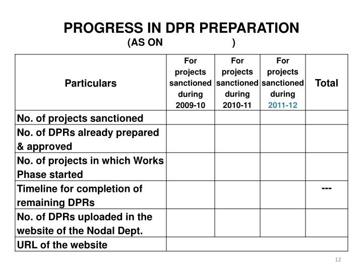 PROGRESS IN DPR PREPARATION