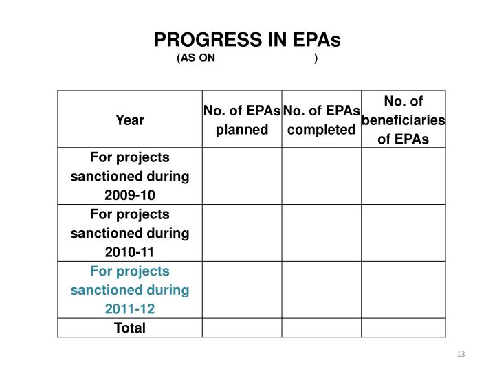 PROGRESS IN EPAs
