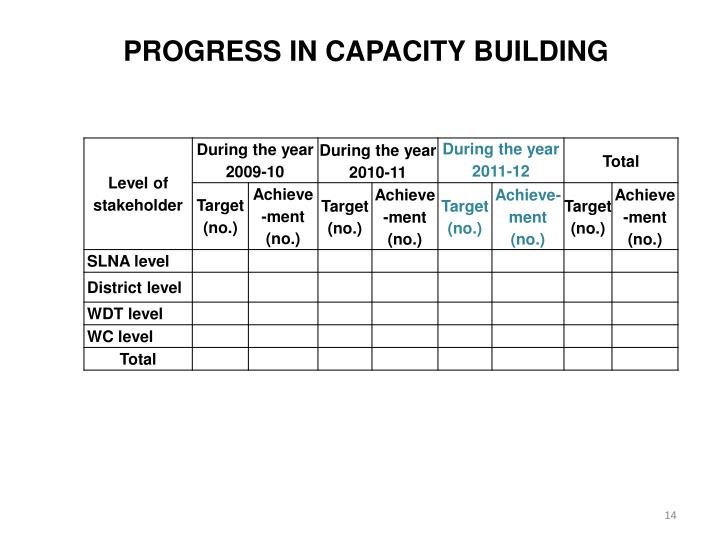 PROGRESS IN CAPACITY BUILDING