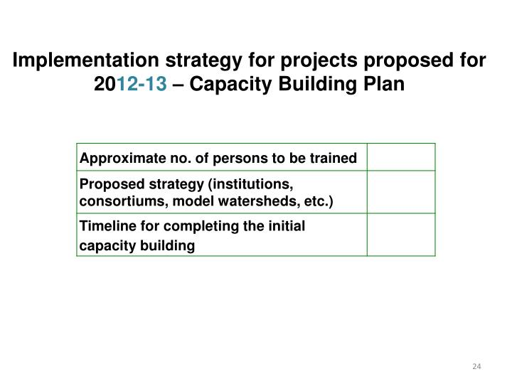 Implementation strategy for projects proposed for 20