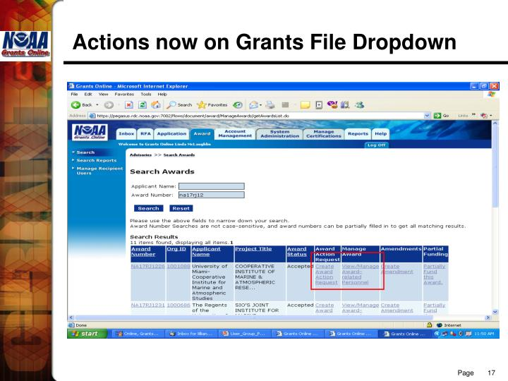 Actions now on Grants File Dropdown