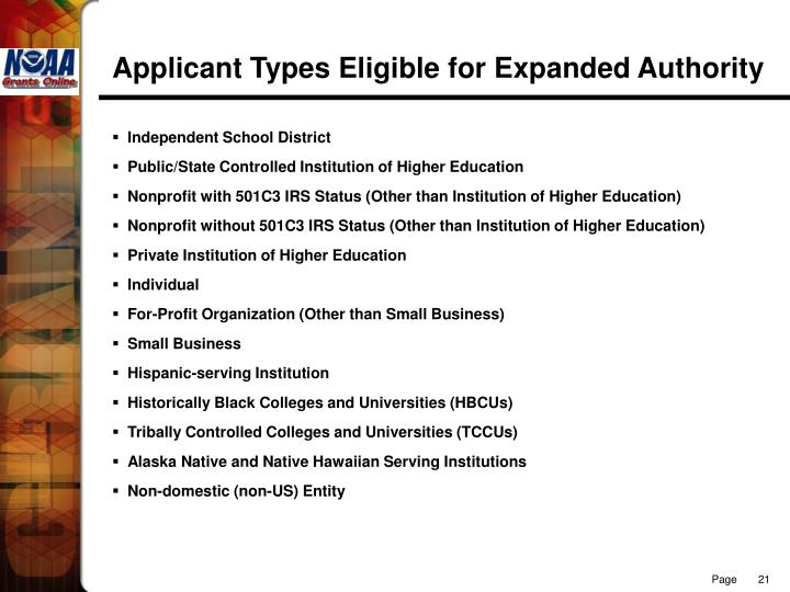 Applicant Types Eligible for Expanded Authority