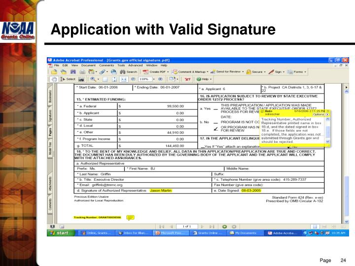 Application with Valid Signature