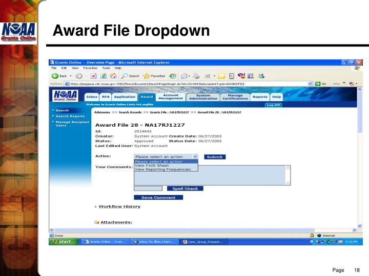 Award File Dropdown