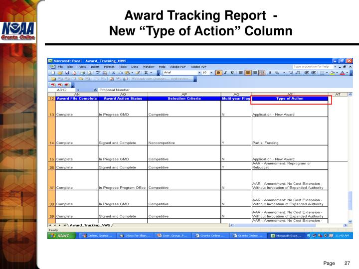 Award Tracking Report  -