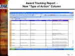 award tracking report new type of action column