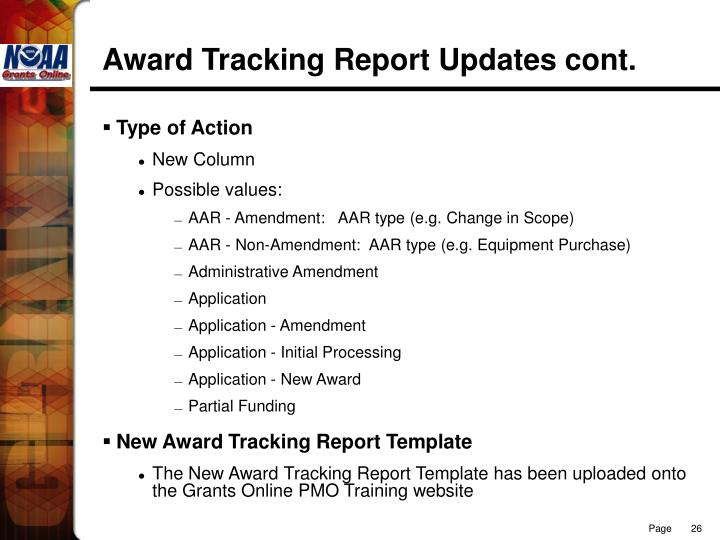 Award Tracking Report Updates cont.