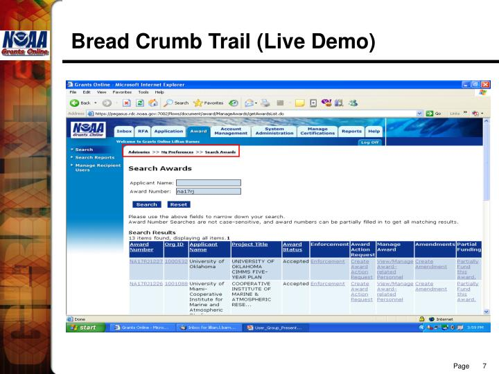 Bread Crumb Trail (Live Demo)