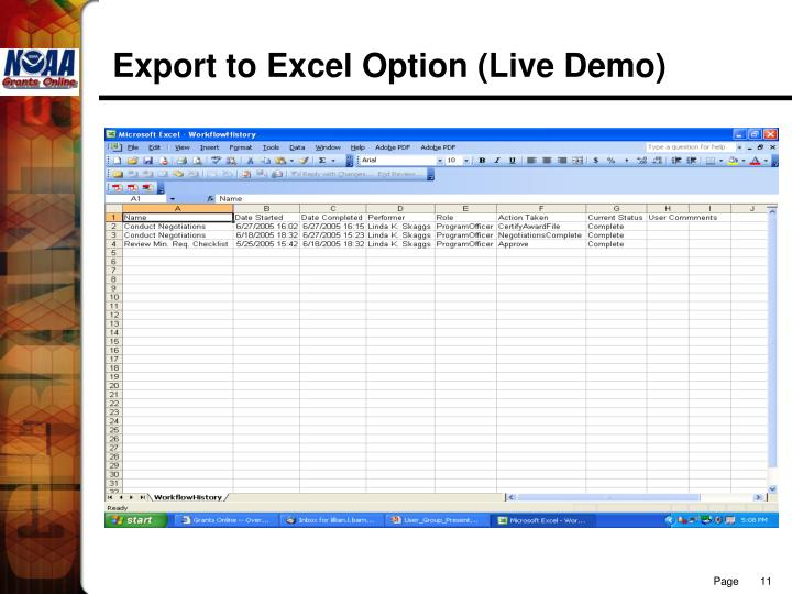 Export to Excel Option (Live Demo)