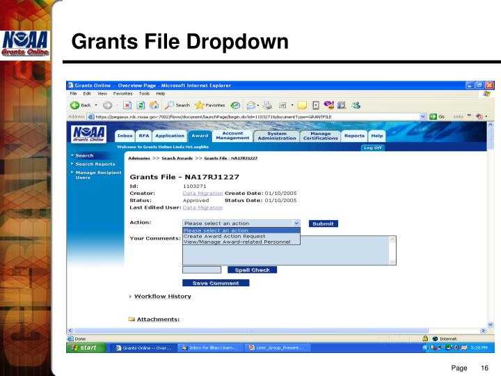 Grants File Dropdown