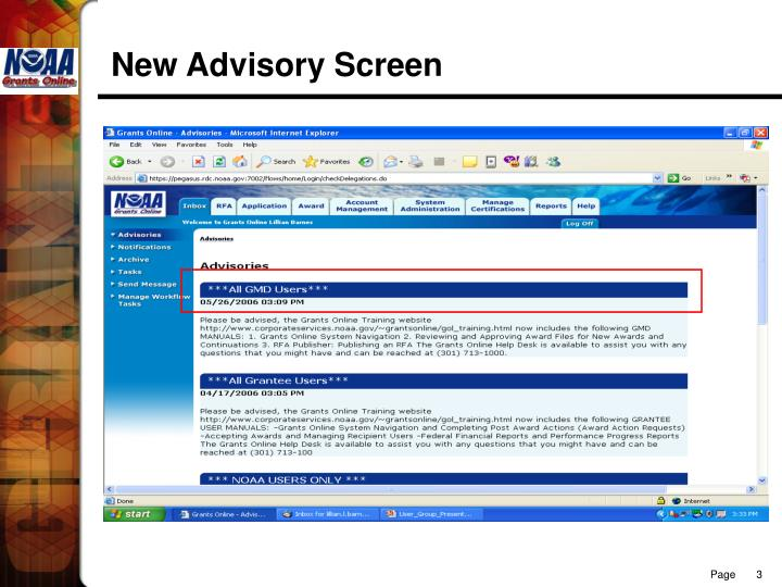New advisory screen